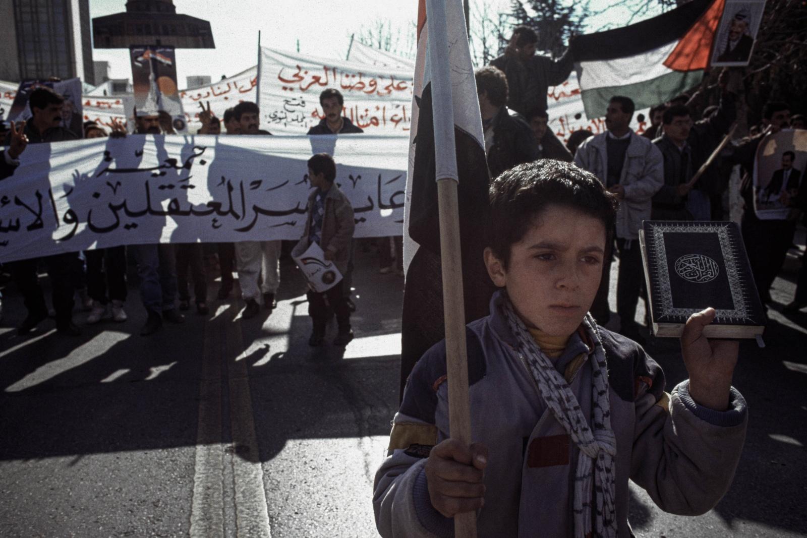Giordania, manifestazione della comunità palestinese di Amman in supporto a Saddam Hussein