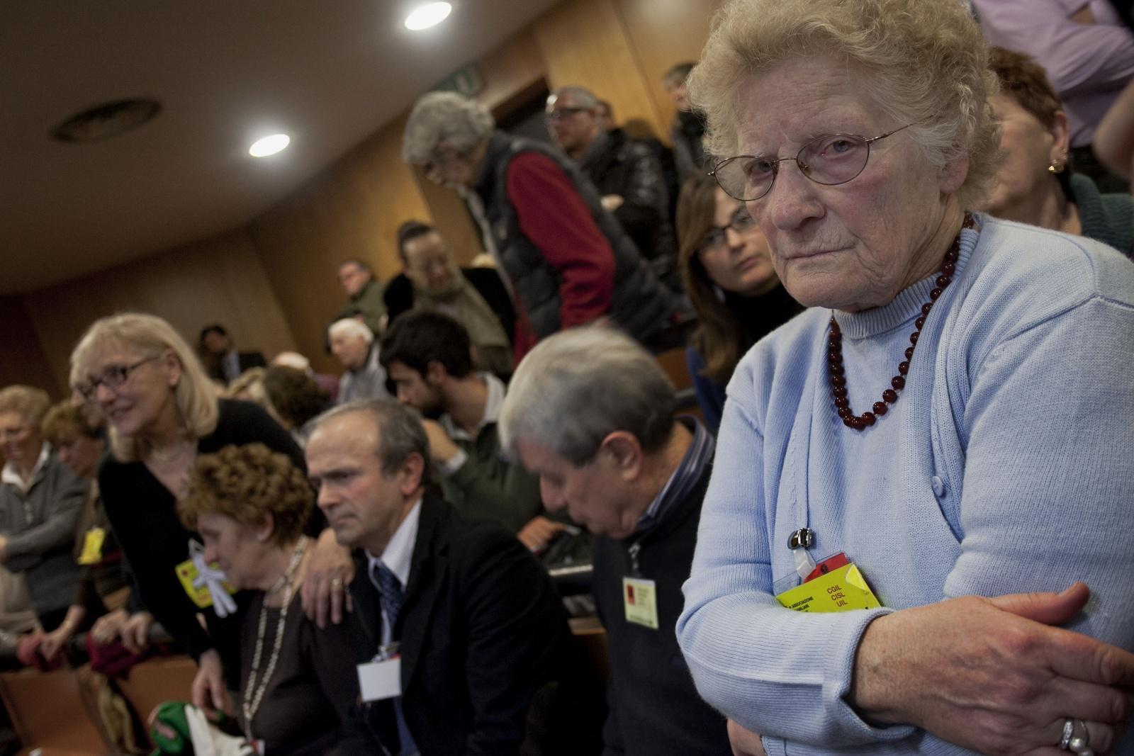 13/02/2012 Torino, Palagiustizia Bruno Caccia,  sentenza processo ETERNIT -  Romana Blasotti presidente dell'Associazione Familiari vittime Amianto